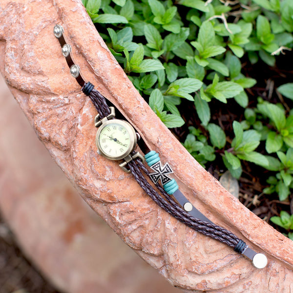 Brown Triple Strand Leather Fashion Watch