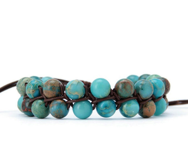 The Lisa Bracelet: Handmade Blue Jasper Braided Leather Cuff Wrap Bracelet - Blue Tulip Boutique