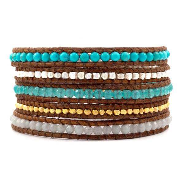 5 layer Handmade Leather Wrap Bracelet with Aqua Jade, Turquoise, gold and silver nuggets on Natural Tan Sippa Leather - Blue Tulip Boutique