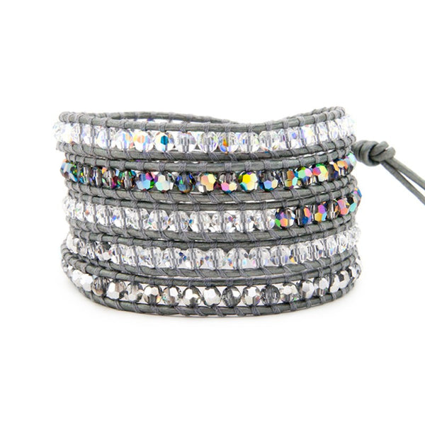 5 layer Handmade Wrap Bracelet with Crystal Mix  on dark Grey Leather - Blue Tulip Boutique