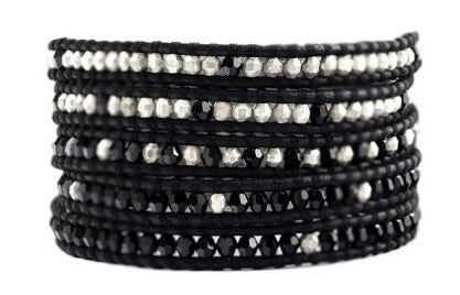 5 layer Handmade Wrap Bracelet with jet black crystals and silver bead mix on natural black leather - Blue Tulip Boutique
