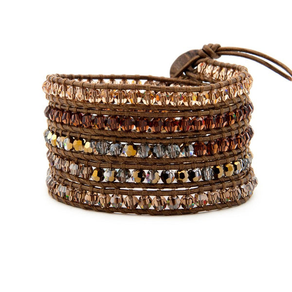 5 Layer Handmade Wrap Bracelet with bronze crystal color mix - Blue Tulip Boutique