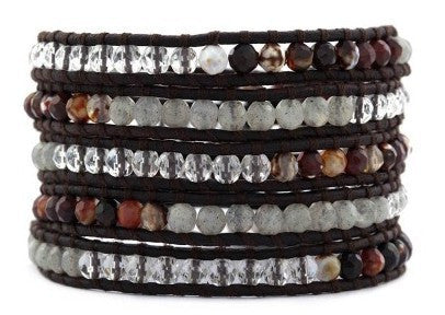 Handmade 5 Layer Leather Wrap Bracelet with Maroon Fire Agate, African Opal and Clear Crystal on Natural Dark Brown Leather - Blue Tulip Boutique