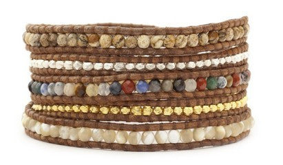 5 layer Handmade Leather Wrap Bracelet Multi Mix Semi Precious Stones, Jade, Mother of Pearl and silver and gold nugget mix on natural brown leather - Blue Tulip Boutique