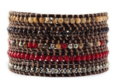 5 Layer Handmade Leather Wrap Bracelet with Red Coral, Smoky Quartz, Pyrite on sippa leather - Blue Tulip Boutique