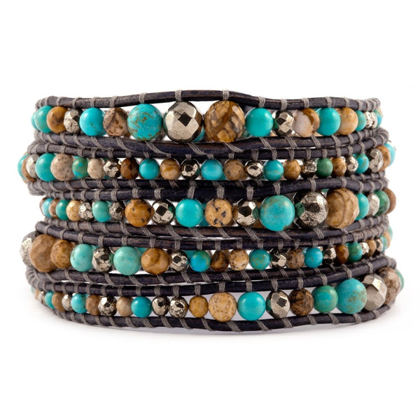 5 layer Handmade Leather Wrap Bracelet with Graduated Turquoise, Jade and Pyrites Semi Precious Stone Mix - Blue Tulip Boutique