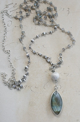 Labradorite Pendant and Chain Long Necklace - The Cooper Necklace - Blue Tulip Boutique