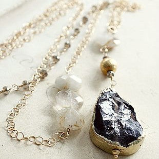 Smoky and Golden Rutiliated Quartz Necklace- The Dylan - Blue Tulip Boutique