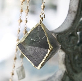 Diamond Shaped Gorgeous Green Fluorite Pendant Necklace - The Houston Necklace - Blue Tulip Boutique