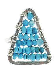 Ija Triangle Stone Ring - Blue Tulip Boutique