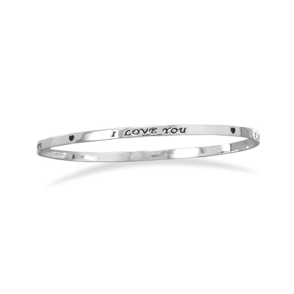 "Silver Plated Brass ""I Love You"" Bangle"
