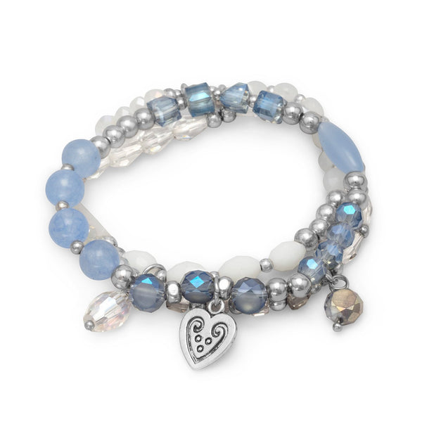 Set of 3 Fashion Stretch Bracelets with Blue and White Beads
