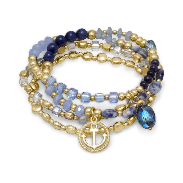 Set of 4 Gold Tone Fashion Stretch Bracelets with Blue Agate