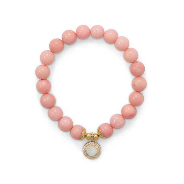 Dyed Coral Stretch Bracelet with Crystal Charm
