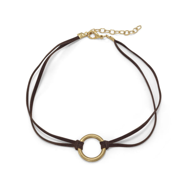 Suede Fashion Choker with Brass Ring