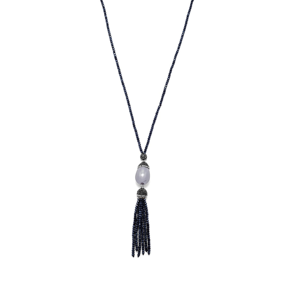 Blue Crystal Fashion Necklace with Imitation Pearl and Tassel Drop