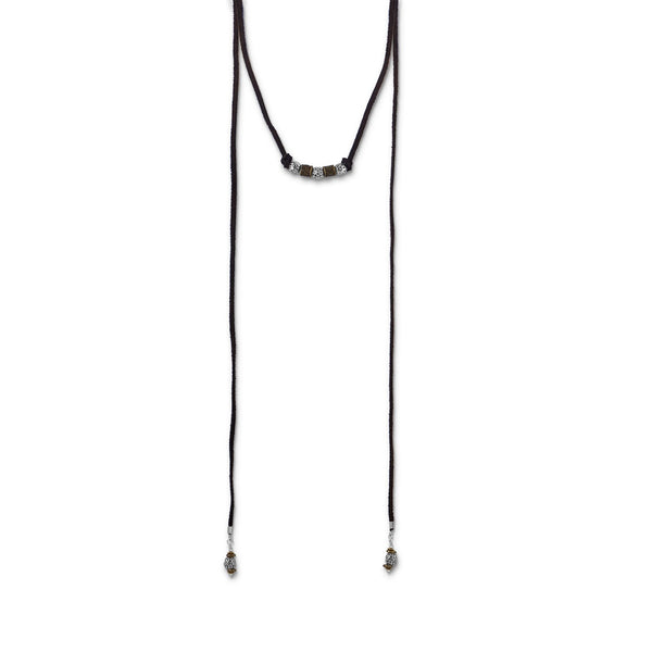 Two Tone Beaded and Suede Lariat Necklace