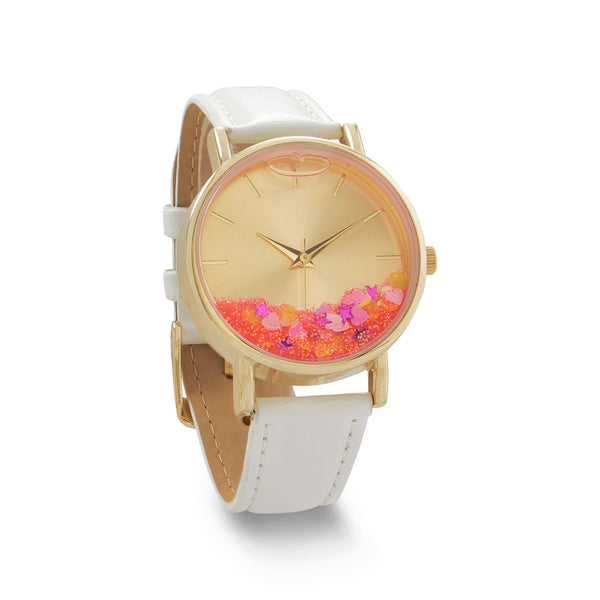 White Leather Watch with Floating Glitter and Confetti