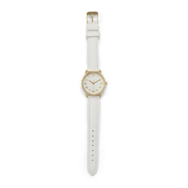 Gold Tone White Leather Classic Watch