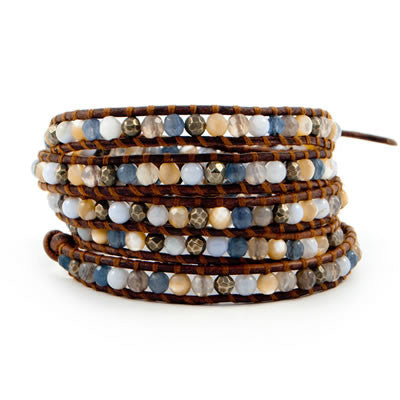 Blue Lace Agate Mix Handmade Leather Wrap Bracelet - Blue Tulip Boutique