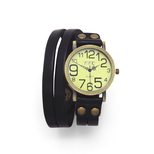 Black Leather Fashion Wrap Watch with Oversized Numbers
