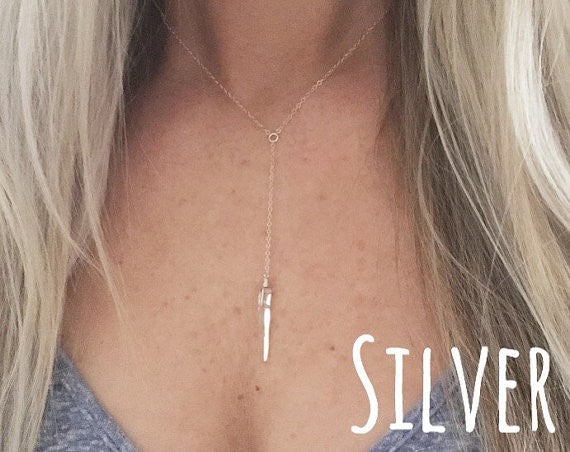 Simple Gold or Silver Lariat Healing Crystal Quartz Necklace - Blue Tulip Boutique