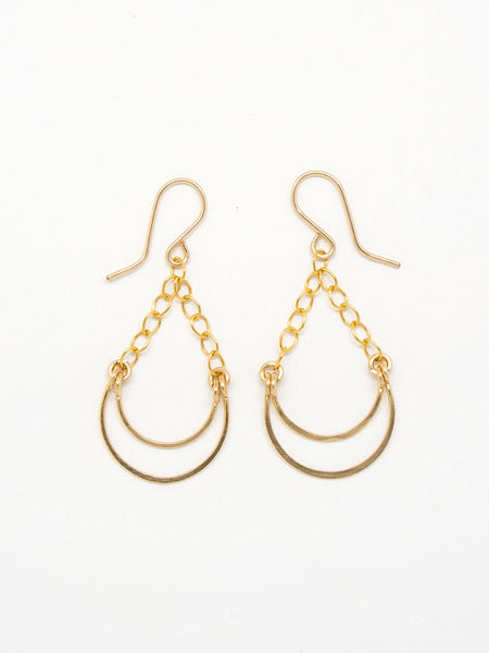 Hammered Hanging Horseshoe Shape Earrings - Blue Tulip Boutique
