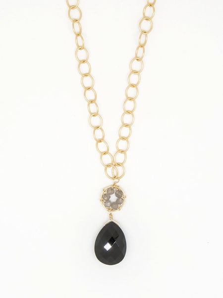 Black Spinel and Gray Moonstone Daisy Necklace - Blue Tulip Boutique