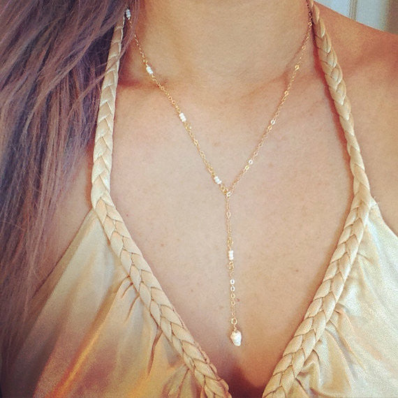 Gold Seashell Lariat Necklace - Blue Tulip Boutique