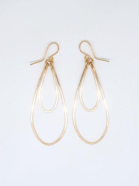 Gold Fill Double Teardrop Hammered Earring - Blue Tulip Boutique