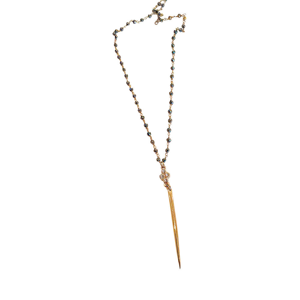 The Traveler: Handmade Black Spinel and Gold Pyrite with Spike Layering Necklace - Blue Tulip Boutique