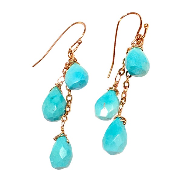 Handmade Turquoise Cluster Drop Earrings - Blue Tulip Boutique