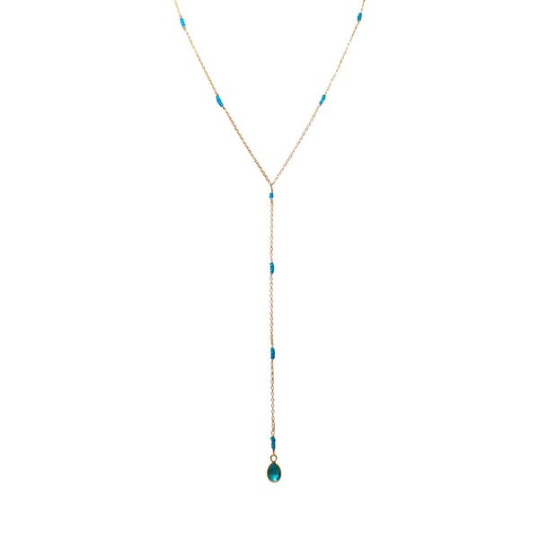 Handmade Gold with Aqua Blue Apatite Lariat Necklace - Blue Tulip Boutique