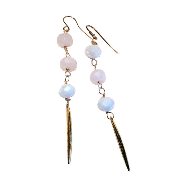 Handmade Moonstone and Gold Spike Dangle Earrings - Blue Tulip Boutique