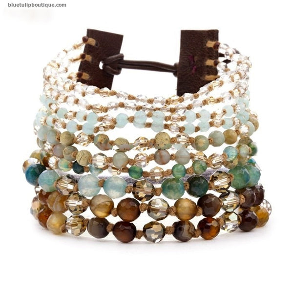The Holly Bracelet: 10 Strand Jasper, Agate & Crystal Leather Cuff Handmade Wrap Bracelet - Blue Tulip Boutique