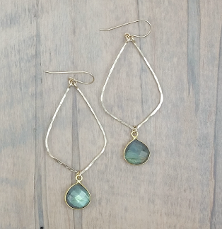 Handmade Earrings Gemstone Drop in Hammered Gold Fill or Sterling Silver - Blue Tulip Boutique