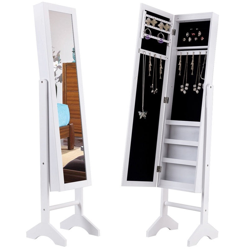 White Freestanding Mirrored Jewelry Armoire with Lights