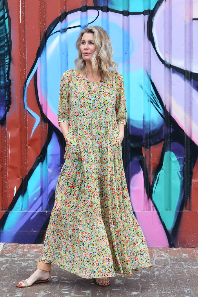 Green Floral Long Tiered Dress - desray.co.za