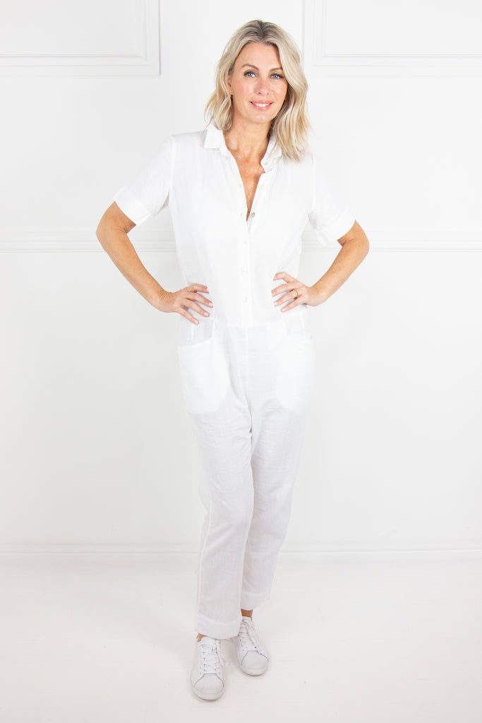 White Linen Jumpsuit - desray.co.za