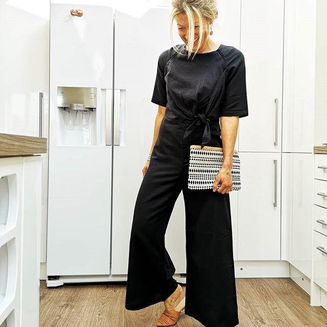 Black Linen Tie Jumpsuit - desray.co.za