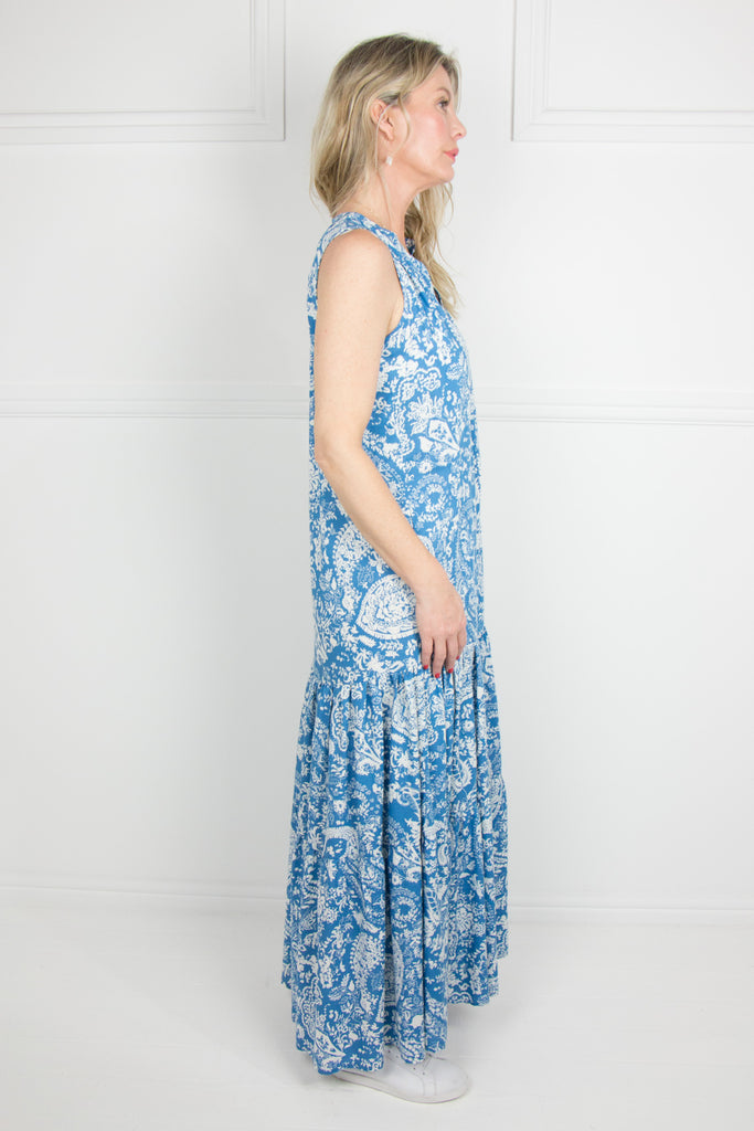 Blue 2 Tier Dress - desray.co.za