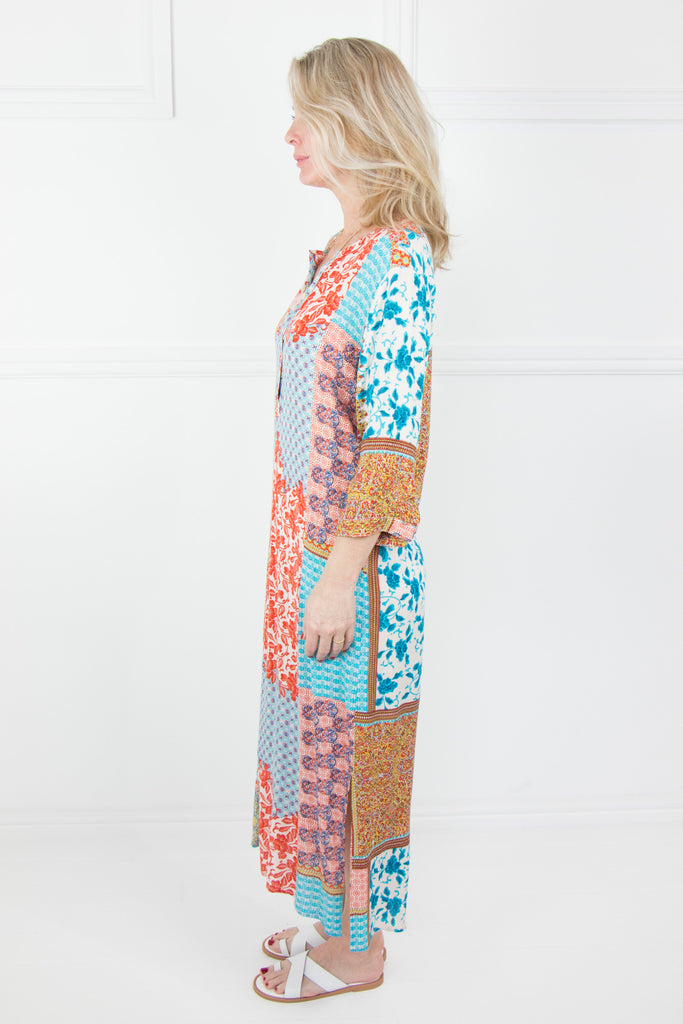 Blue and Orange Patchwork Kaftan - desray.co.za