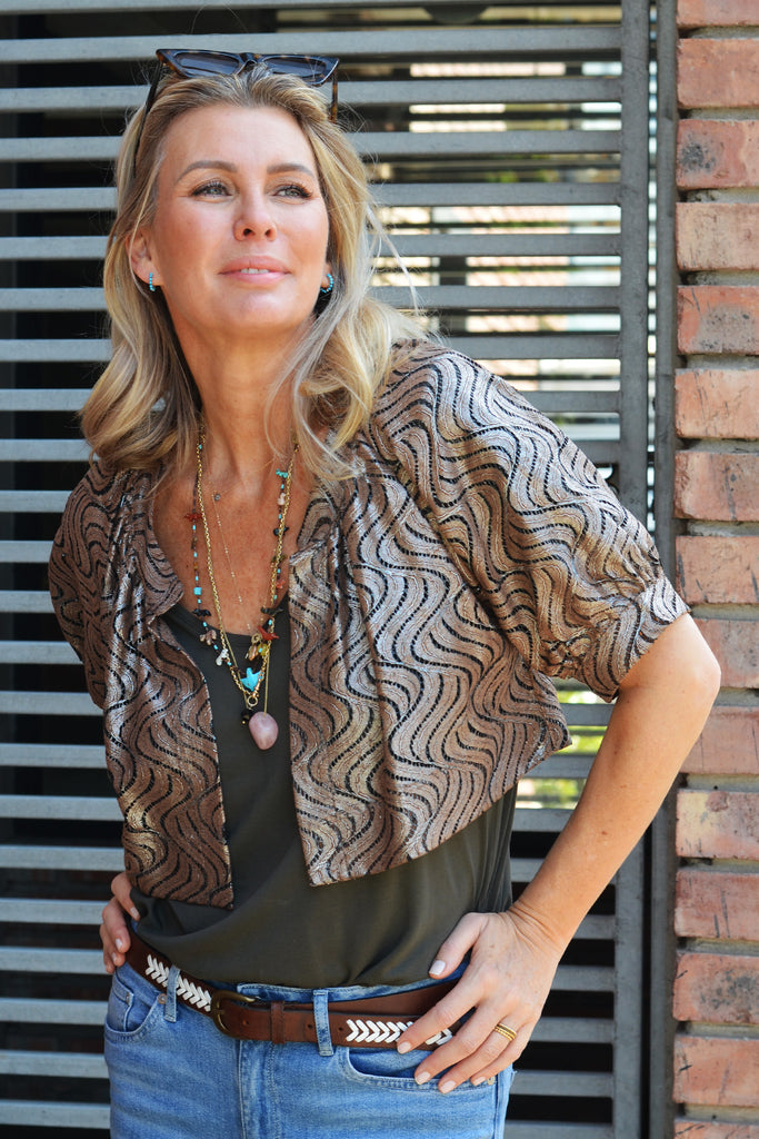 Metallic Foiled Lace Bolero Jacket - desray.co.za