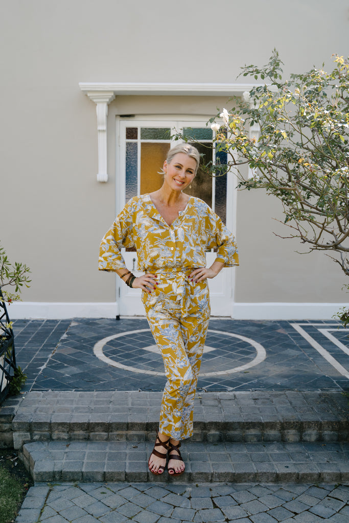 Mustard and Grey Jumpsuit - desray.co.za