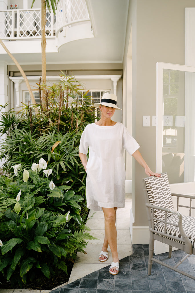 White Linen Boxy Dress - desray.co.za