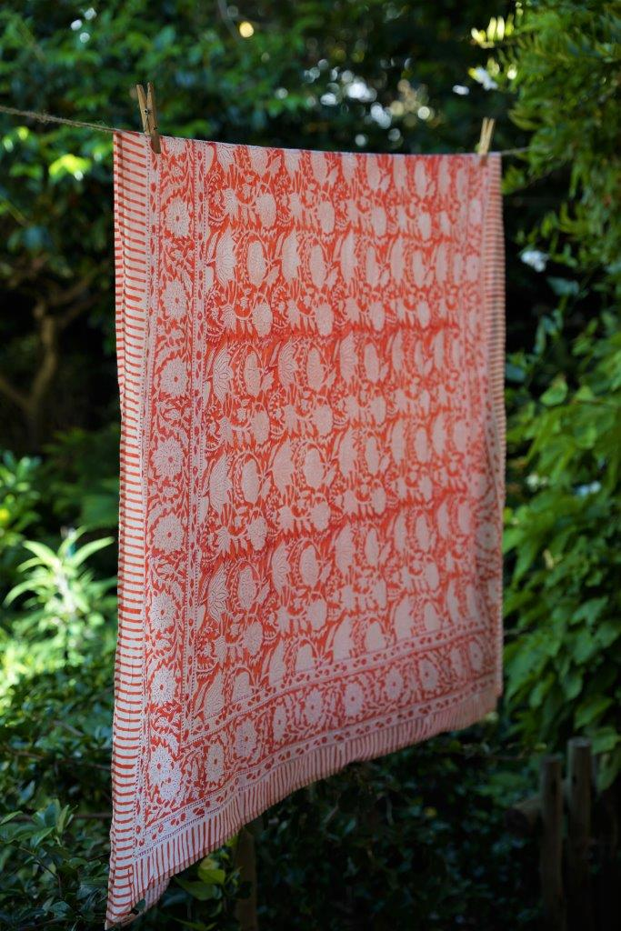 Orange/White Floral Sarong - desray.co.za
