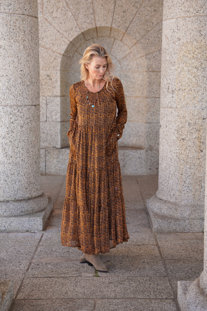 Rust 3 Tiered Long Sleeve Dress - desray.co.za