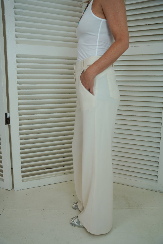Cream Flair Leg Pants - desray.co.za