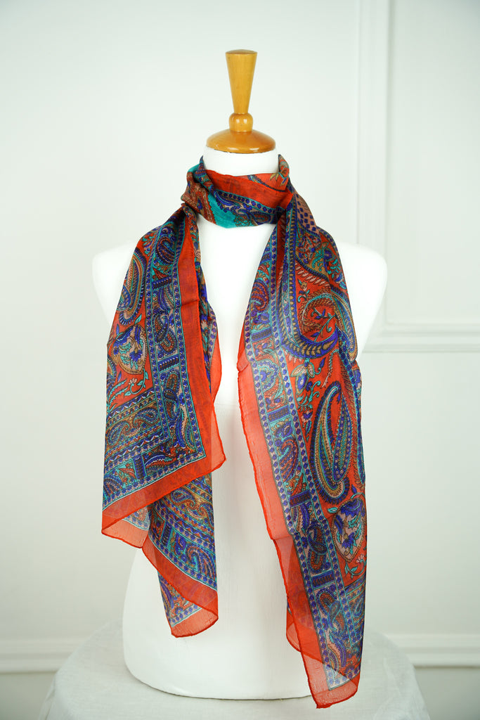 Orange Paisley 100% Silk Scarf - desray.co.za