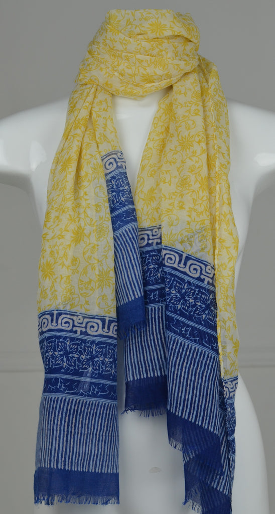 Yellow & Blue Floral Fringe Scarf - desray.co.za